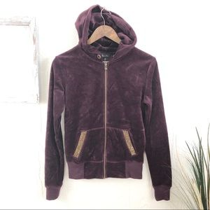 Miss Me Velour Jeweled Blingy Hoodie